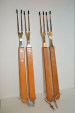 """U PICK 2X TWO GRILL Fork BBQ 15"""" Wooden Handle Stainless Prongs COOK Camp NEW"""