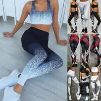 Women Yoga Sports Leggings High Waist Pants Workout Fitness Gym Printed Trousers