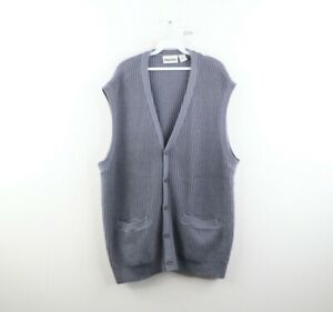 Vtg 90s Streetwear Mens 2XL Big Acrylic Knit Cardigan Sweater Vest Steel Blue