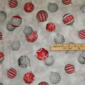 Holiday Flourish Silver Ornaments Metallic Christmas Fabric 1/2 Yard  #19921-186