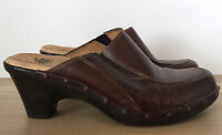 SOFFT Womens Brown Leather Mules Slides Clogs Heels Shoes Size 7 M