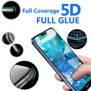 5D Curve Edge Full Coverage 9H Hardness Tempered Glass For Nokia 7.1 - 1 Pack