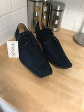 New! Bravo Mens Shoes Sutter Faux Suede Pointy Square Toe Navy Blue Size 13