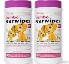 "JUMBO EAR WIPES x160 - (80wipes x2) - 7 x 5"" Petkin Dog Cat Cleaning Wet bp Wipe"