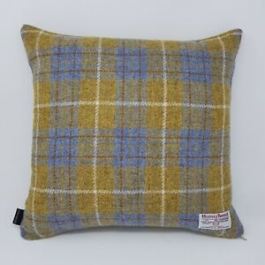 Mustard yellow Wool tweed Check handmade genuine HARRIS Tweed cushion cover