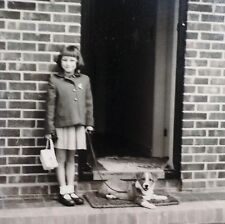 vintage 1930 /1940 era Photo girl Pembroke Welsh Corgi puppy dog Best Friends!*