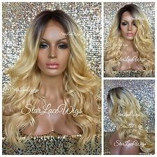 Lace Front Wig Golden Blonde Human Hair Blend Long Wavy Curly Dark Roots Heat Ok