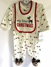 Carter's Baby My First Christmas 2Pc. Set With Bib Santa Reindeer Size 0/3 Month