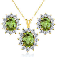 3.63 Ct Oval Green Peridot 18K Yellow Gold Plated Silver Pendant Earrings Set