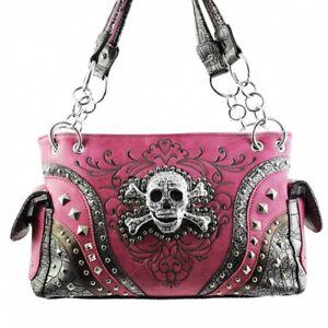 Skull & Crossbones CHL Purse & Wallet Purple Gray Calavera Shoulder Handbag New