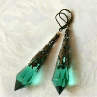 Fashion Women Green Fire Opal Dangle Drop Earrings Engagement Wedding Jewelry