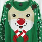 Ugly Christmas Sweater Red Nosed Reindeer Sequin Glasses Girls Size XL 14 16