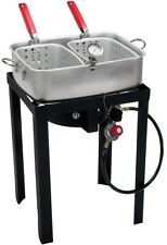 Double Basket Fryer 18 qt. Steel Stand 58,000 BTU Heat Shield CSA Approved