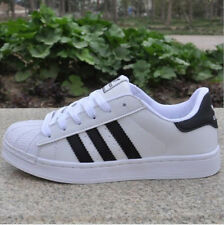 UK SELL Mens Women's Leather Casual Lace Up Sneakers Trainer Shoes Superstar New