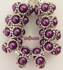 10 Purple Pearl Look Charm Spacers Fit European Jewelry 6 * 11 & 5 mm hole  R022