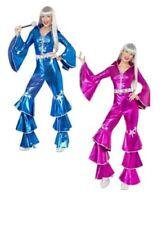 Retro 1970s Dancing Dream Costume Ladies Fancy Dress Waterloo 70s Queen S-M