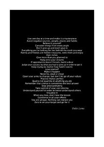 Dalai Lama - Live One Day at a Time - Inspiring Poem - A4 Size (Black/White)