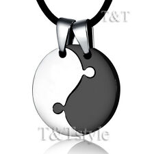 TT Two-Tone Black Stainless Steel YING&YANG Pendant Necklace For Couple (NP166)