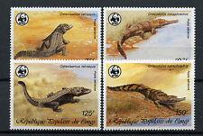 Congo 1987 SG#1058-61 Crocodiles WWF MNH Set #A69458