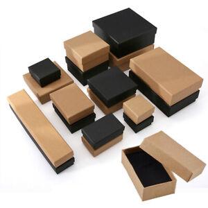 Brown Black Cardboard Jewellery Gift Box Bracelet Necklace Earring Display Case