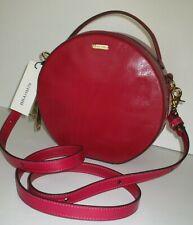 NWT BRAHMIN Lane Circle Crossbody Bag Fuschia Topsail Leather
