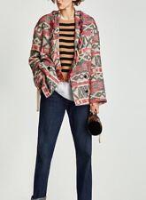 Zara WOMEN'S Abrigo Abrigo De Jacquard Con Flecos Color Crudo Rojo Con Cintas Talla XS-S