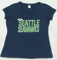Seattle Seahawks Woman's Blue Tee T-Shirt Top Short Sleeve Size Medium NFL Team