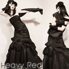 Heavy Red Gothic Rose Strapless Ball Prom Gown XL / 14