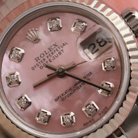 Rolex 26mm Datejust Pink MOP Mother Of Pearl Diamond Dial Stainless Steel Watch