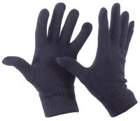 Wool Fine Knitted Gloves NAVY Thermal Knit Full Finger Fits Most Warm Winter