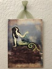 Vintage Mermaid Postcard Plaque Picture Wall Decor Shabby