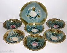 Antique Art Nouveau MAJOLICA Berry Bowl Set 7 Pieces PINK White ROSES