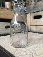 Vintage Pint Milk Bottle Crescent Dairy Schenectady New York 1942 Moon Star