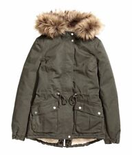 H&M Damen Winterjacke Parka mit Teddyfutter khaki Gr. 36, NEU