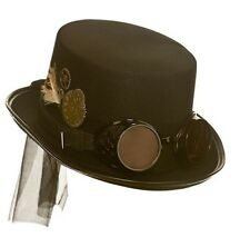 Adult Deluxe Steampunk HAT with GOGGLES Cyber Retro Fancy Dress Accessory AC9724