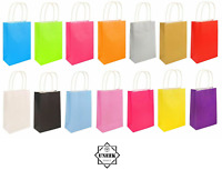 Bright PAPER PARTY BAGS WITH HANDLES x 6 Gift Bag Birthday Wedding Loot NEW UK