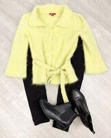Monsoon Green Lime Cardigan Sz 12 Angora Mix Long Sleeve Collar Button