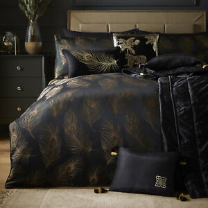 Black Gold Duvet Cover Feathers Glitter Designer Laurence Llewelyn-Bowen Bedding