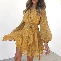 Women long sleeves V neck chiffon floral print casual summer mini dress