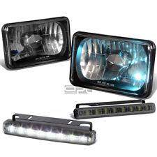 4X6 H4656 DIAMOND CUT SQUARE BLACK HEAD LIGHT+SMOKED SMD LED FOG+HALOGEN BULB