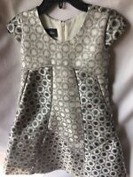 Isobella and Chloe Girls Silver Gray And Charcoal Empire Dress Size 3T-New