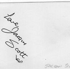 VINTAGE AUTOGRAPH JACQUI SCOTT SINGER STAGE TV RADIO HAND SIGNED INK PAGE