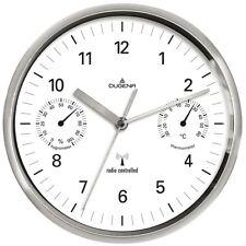 DUGENA 4277392 Wanduhr Funkuhr Metall Analog Hygrometer Thermometer weiss