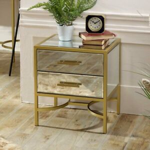 Gold metal framed mirrored 1 drawer bedside occasional side table luxe furniture