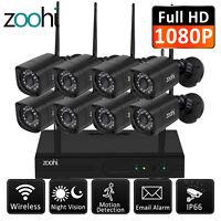 Wireless HD 1080P Wireless Security Camera System Outdoor 1TB NVR CCTV IR Night