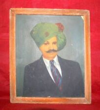 Antique Collectible Rare Traditional Indian Old Man Framed Hand Oil Painting