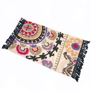 New Pottery Barn Bohemian Embroidered Rectangle Lumbar Pillow Cover Fringe 26x16