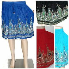 Indian Short Sequin Skirt Boho Bollywood Belly Dance Hippie Gypsy One size skirt