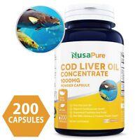 NusaPure Best Norwegian Cod Liver Oil Concentrate 1000mg 200 Powder Capsules