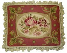"18"" x 22"" Handmade Wool Needlepoint Pink & Gold Frame Roses Pillow with Tassels"